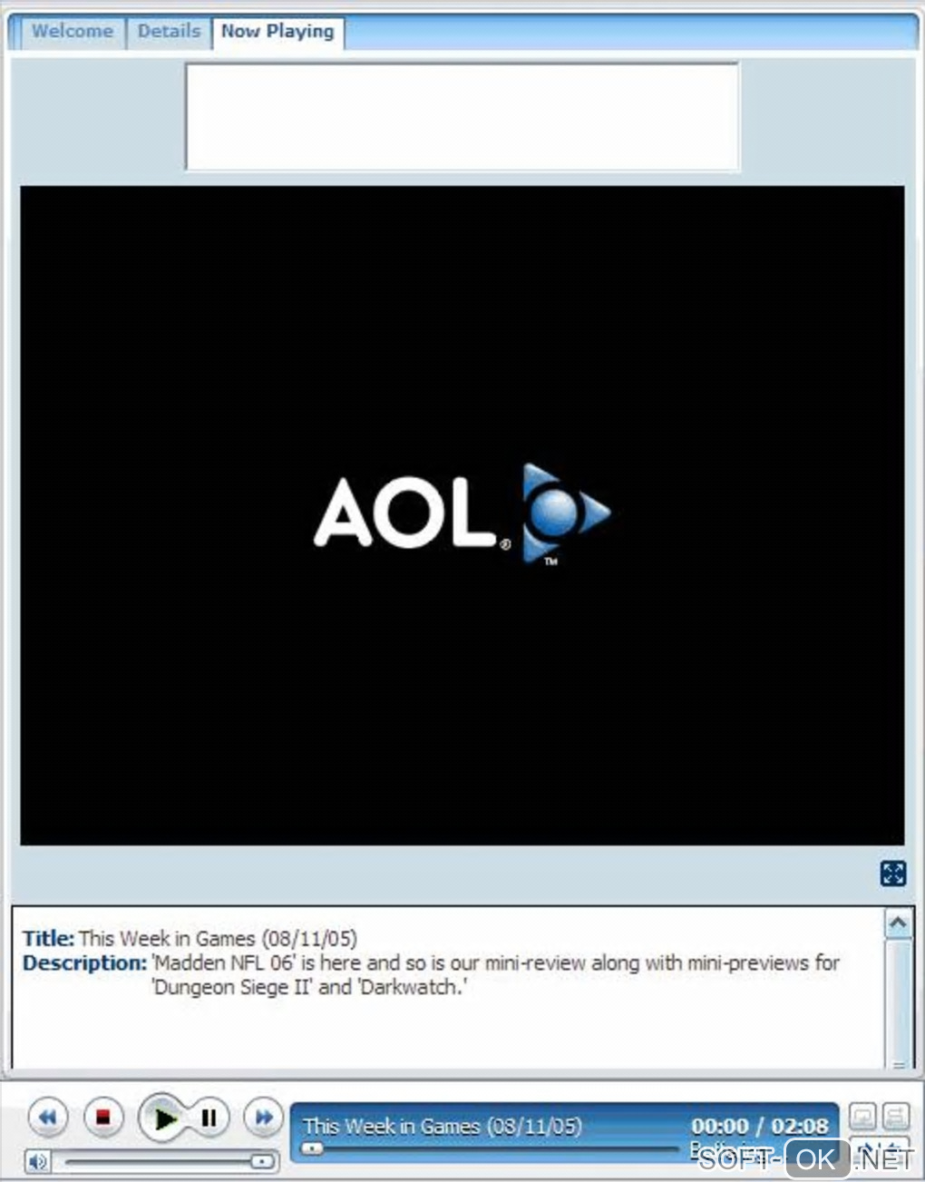 "The appearance ""AOL Media Player"""
