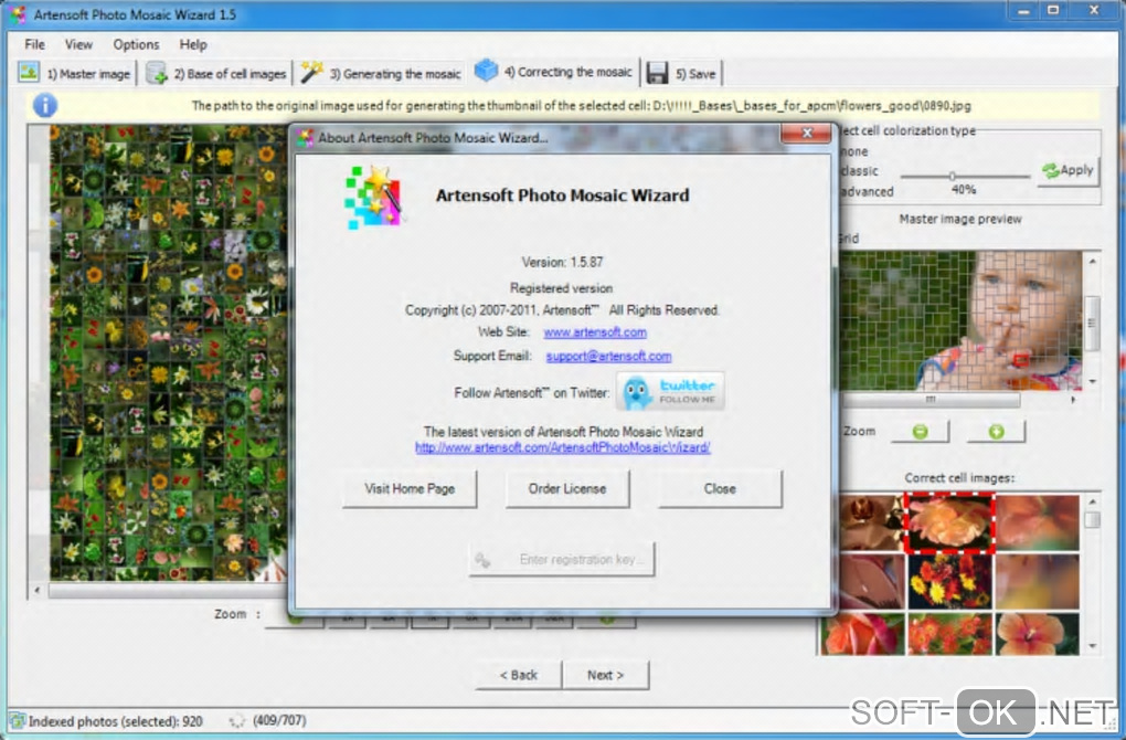 "Screenshot №2 ""Artensoft Photo Mosaic Wizard"""