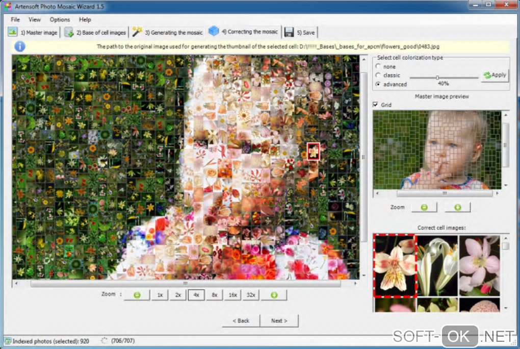 "The appearance ""Artensoft Photo Mosaic Wizard"""