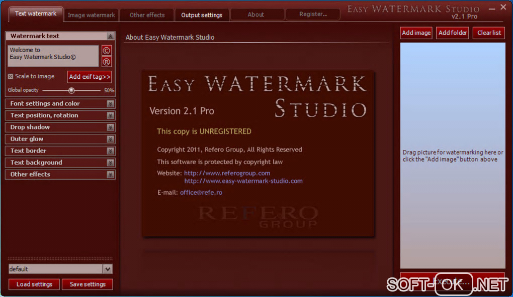 "The appearance ""Easy Watermark Studio"""