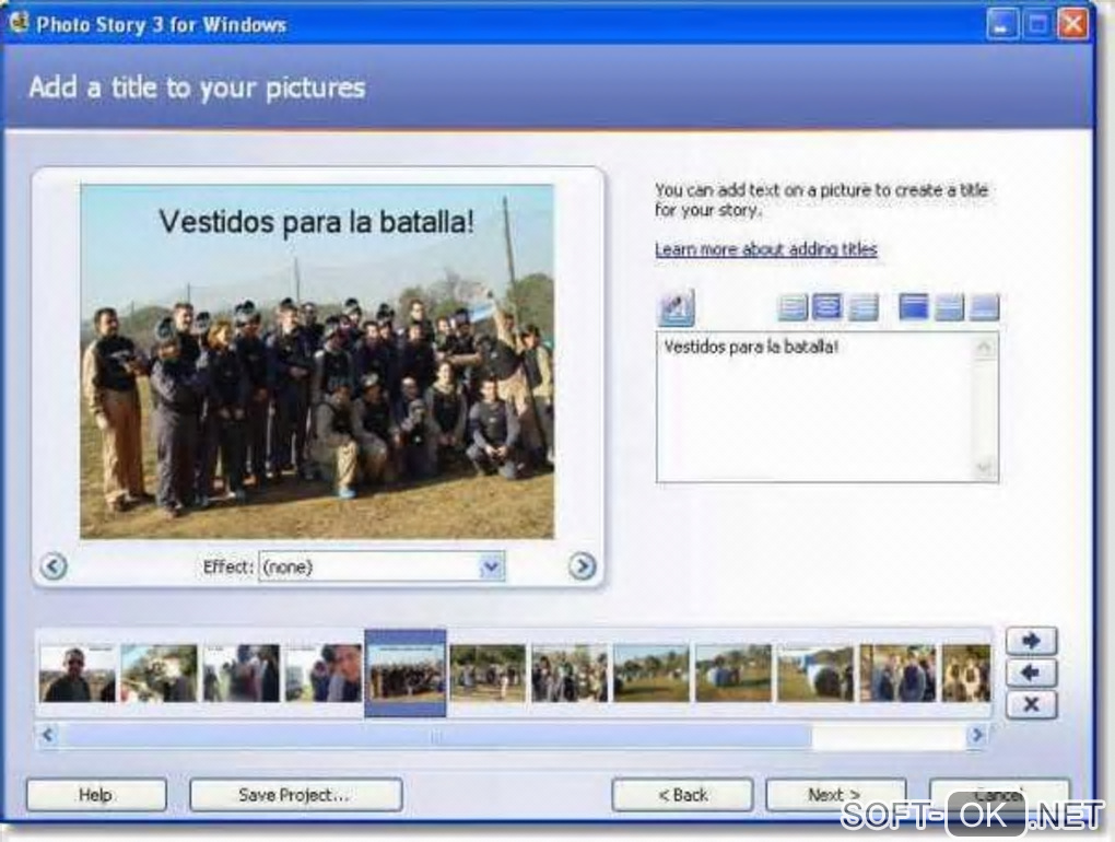 "The appearance ""Microsoft Photo Story"""