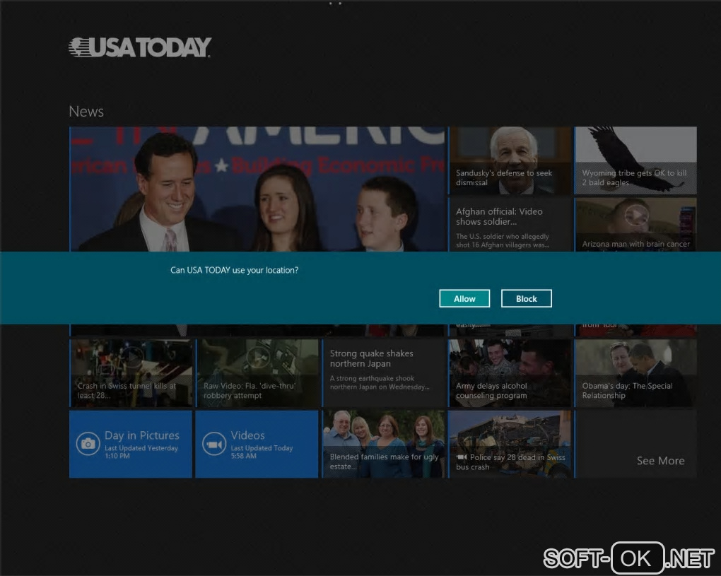"The appearance ""USA Today for Windows 10"""