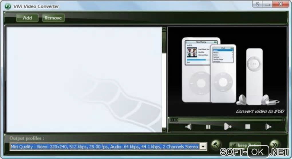 "The appearance ""ViVi Video Converter"""