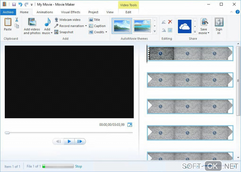 "The appearance ""Windows Movie Maker"""