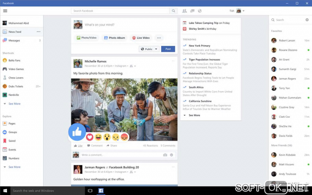 "Screenshot №1 ""Facebook for Windows 10"""