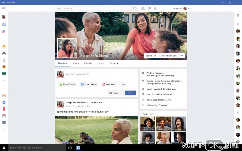 "The appearance ""Facebook for Windows 10"""