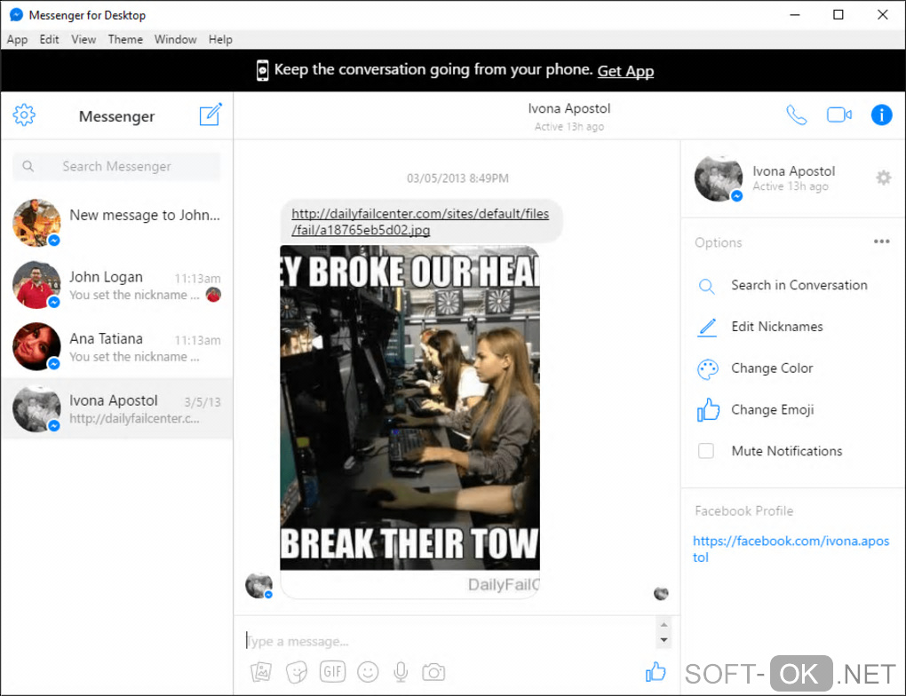 "Screenshot №1 ""Messenger for Desktop"""
